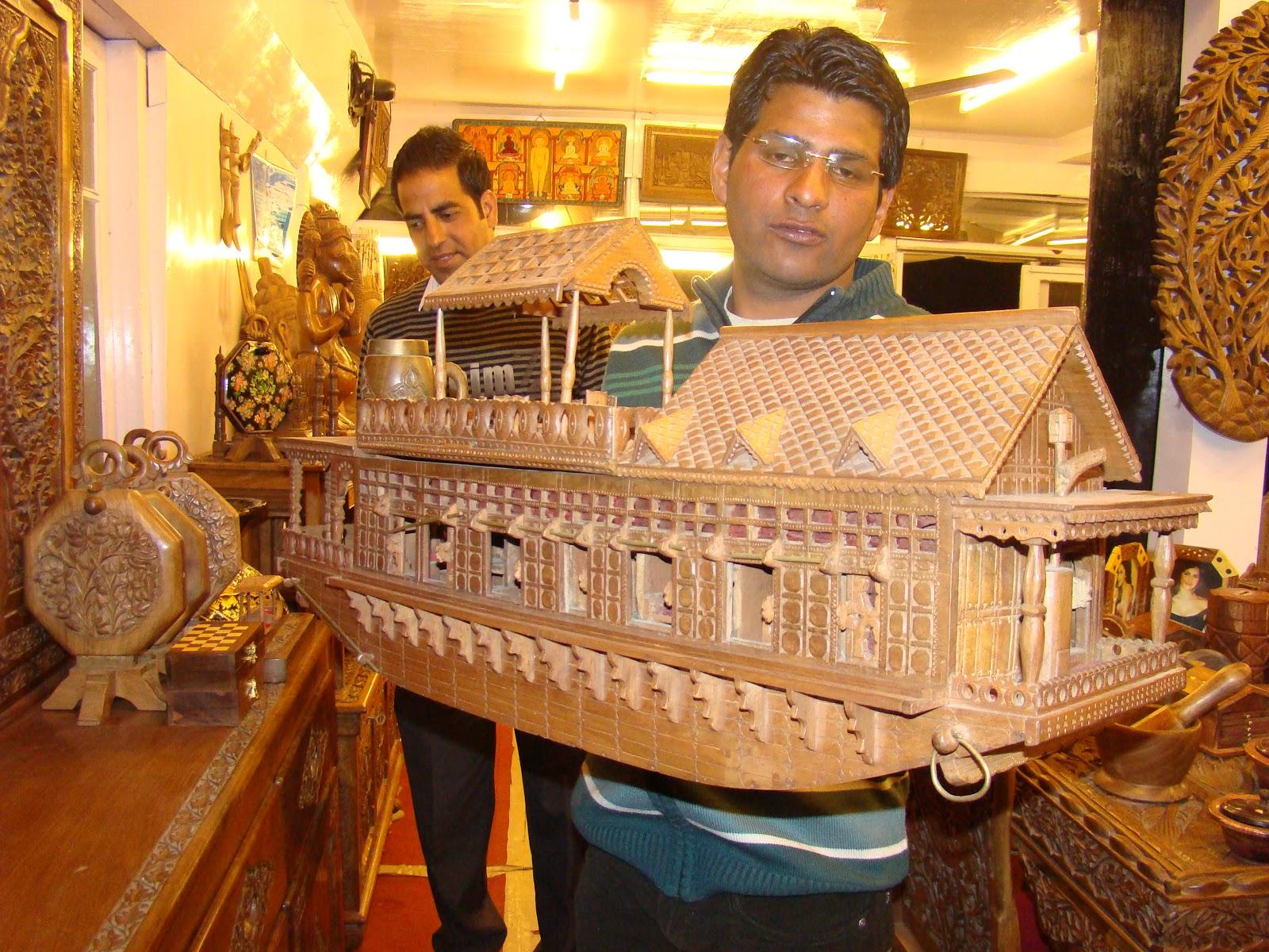 House boat wood carving kashmir